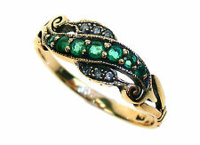 9ct Solid Gold Vintage Insp Emerald & Diamond Ring R147 Custom