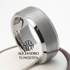 Tungsten Ring Anniversary Wedding Band 8MM Strong Brushed Design Size 6 to 14