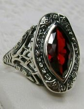 Marquise *Garnet* Sterling Silver Victorian Filigree Ring Size: (Made To Order)