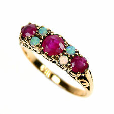 9ct Solid Gold Vintage Insp Ruby & Opal Ring R75 Custom