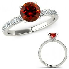 1 Carat Red Diamond Solitaire Eternity Engagement Promise Ring 14K White Gold