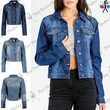 Ladies Womens Collared Front Button Casual Coat Blazer Cropped Denim Jean Jacket