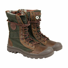 Palladium Pampa Tactical Mens Brown Green Leather Casual Dress Boots Shoes