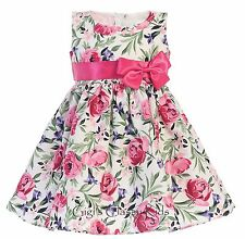 New Flower Girl Cotton Floral Print Dress Pageant Easter Wedding Kids Party M727