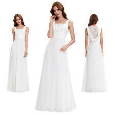 Long LACE Evening Gowns Prom Party Bridesmaid White Wedding Cocktail Maxi Dress
