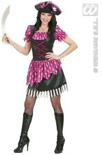Ladies Fancy Pink Glitzy  Buccaneer Costume Outfit for Womens Pirate Fancy Dress