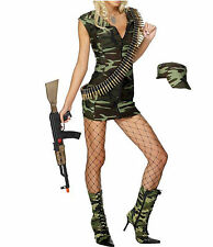 Army Girl Military Ladies Soldier Retro Uniform Outfit + Hat Fancy Dress Costume