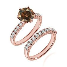 1 Ct Champagne Diamond Wedding Anniversary Solitaire Ring Bnad 14K Rose Gold