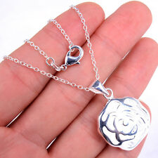 Solid 925 Sterling Silver Chain Necklace+ Hollow Out Flower Pendant Jewelry H622