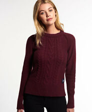 New Womens Superdry Cable Crew Jumper Damson Twist
