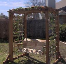 NEW CEDAR GARDEN ARBOR & 5 FT PORCH SWING PERGOLA WITH HEAVY DUTY HANGING ROPE