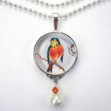 """RED ROBIN BIRD """"VINTAGE CHARM"""" PENDANT SILVER OR BRONZE NECKLACE BY CHARMEDWARE"""
