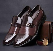 New Men's business slip on patent leather dress formal casual shoes brown Hot YT