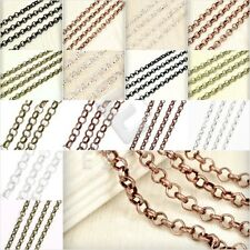2m Unfinished Bulk Chain Ball Twisted Curb Flat Cable Rollo Oval Woven Lots HC