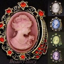 ADD'L Item FREE Shipping - Antiqued Rhinestone Cameo Necklace Pendant Pin Brooch
