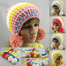 Fashion Colorful Striped Wool Blend Rabbit Cap Snow Knitted Beanie PomPom Hat