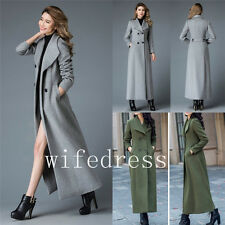 Women's Full Length Wool Blend Coats Slim Fit Military Long Jackets Trench Parka