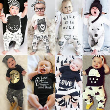 Newborn Baby Boys Girls Cotton Tops T-shirt Pants Bodysuit Outfits Clothing Set