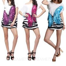 Butterfly summer Oversize t shirt Short Sleeve blouse Casual Stretchy Womens Top