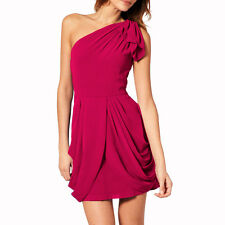 Chic One Shoulder Short Chiffon Cocktail Party Prom Dress Club Wear Magenta