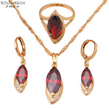 JS281 Party 18K Gold Plated Zircon Garnet Jewelry Sets Earrings Necklace Ring