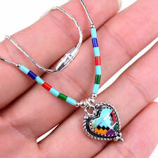 HANDMADE 925 Sterling Silver Fashion Green Turquoise Gemstone Necklace MM1538
