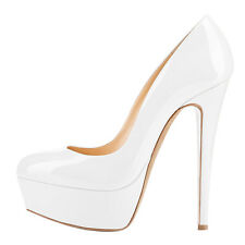 White Shoes Womens Patent Leather Round Toe Stiletto High Heels Platform Pumps