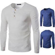 White Fashion Mens Casual V Neck Slim Fit Cotton Blend Long Sleeve T-Shirt Top