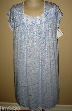 """New 1X 2X Eileen West Blue & White Mid-Length 42"""" Night gown Cap Sleeve"""