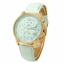 Fashion PU Leather Stainless Steel Bracelet Analog Quartz Women's Wrist Watch