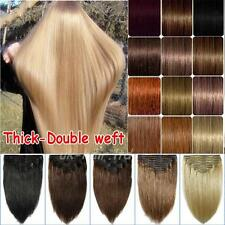 Thick Double Weft Clip In Real Remy Human Hair Extensions Straight Full Head E95