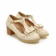 Womens Bowknot Mary Jane Buckle T-Strap Med Heel Pumps Lolita Shoes Plus Size