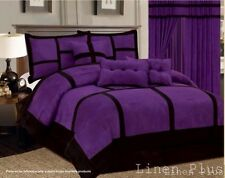 Micro Suede Purple Black Patchwork Comforter Set All Sizes 7 PIECE KING QUEEN +