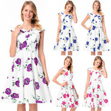 UK Womens Cap Sleeve 50s 60s Rockabilly Vintage Swing Party Prom Cocktail Dress