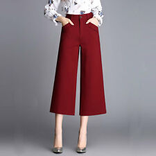 Elegant Womens High Waisted Wide Leg Culottes Crop Pants Trousers OL Pants
