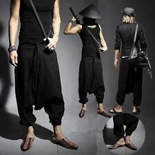 Mens Harem Baggy Linen Pants Casual Japanese Samurai Trouser hip hop hairdresser