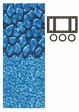 Above Ground 25 Gauge Oval Boulder Swimming Pool Overlap Liners w/ Gasket Kit