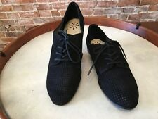 Isaac Mizrahi Frill Black Suede Perforated Lace up Oxford Flats NEW