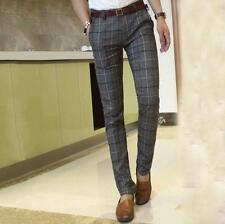 New Mens Chic Plaid Casual Pants Trousers Slim Fit Straight Leg formal Pants Hot