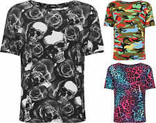 Plus Womens Printed T-Shirt Top Ladies Short Sleeve Crew Neck Stretch New