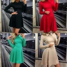 Women Sexy Long Sleeve Shirt Collar Skater Dress Cocktail Evening Party Dress