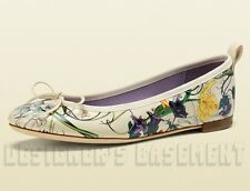 GUCCI ivory INFINITY FLORA Leather Bow ALI Ballerina flat shoes NIB Authentic!