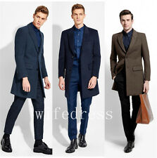 Men's Slim Winter Long Wool Coats Warm Business Jackets Trench Overcoat Outwear