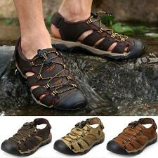 Mens Leather Closed Toe Walking Sports Casual hiking Beach Sandals Shoes new