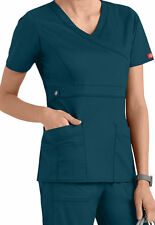 Dickies Medical Scrubs Women's Gen Flex Caribbean Blue Mock Wrap Top Sz XS-XXL