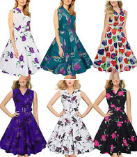 50s Womens Rockabilly Audrey Hepburn Butterfly Floral Vintage Swing Dress Wiggle