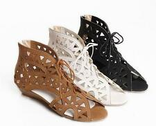 Size Womens roman Hollow Out Lace Up Wedge heel Peep toe Gladiator Sandals Shoes