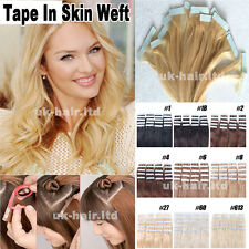 "TAPE IN Huamn Hair Virgin Remy Skin Weft Extensions 16""-24"" 40pcs 60pcs US I429"
