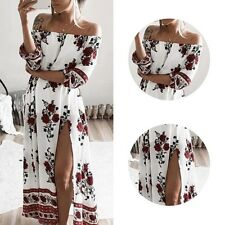 Sexy Off-shoulder Long Boho Dress Floral Women Casual Party Cocktail Clubwear