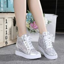 Mesh Womens Rhinestones Lace Platform Wedge heel Shoes Lace Up High Top Sneakers